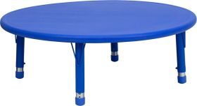 45'' Round Height Adjustable Blue Plastic Activity Table [YU-YCX-005-2-ROUND-TBL-BLUE-GG]