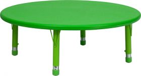 45'' Round Height Adjustable Green Plastic Activity Table [YU-YCX-005-2-ROUND-TBL-GREEN-GG]