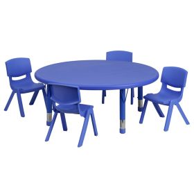 45'' Round Adjustable Blue Plastic Activity Table Set with 4 School Stack Chairs [YU-YCX-0053-2-ROUND-TBL-BLUE-E-GG]