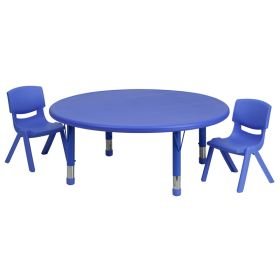 45'' Round Adjustable Blue Plastic Activity Table Set with 2 School Stack Chairs [YU-YCX-0053-2-ROUND-TBL-BLUE-R-GG]