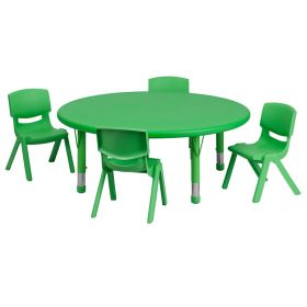 45'' Round Adjustable Green Plastic Activity Table Set with 4 School Stack Chairs [YU-YCX-0053-2-ROUND-TBL-GREEN-E-GG]