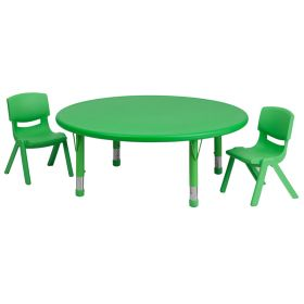 45'' Round Adjustable Green Plastic Activity Table Set with 2 School Stack Chairs [YU-YCX-0053-2-ROUND-TBL-GREEN-R-GG]