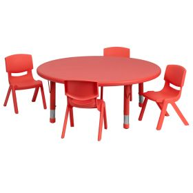 45'' Round Adjustable Red Plastic Activity Table Set with 4 School Stack Chairs [YU-YCX-0053-2-ROUND-TBL-RED-E-GG]