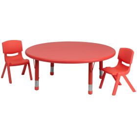 45'' Round Adjustable Red Plastic Activity Table Set with 2 School Stack Chairs [YU-YCX-0053-2-ROUND-TBL-RED-R-GG]