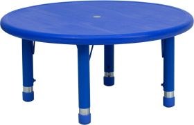 33'' Round Height Adjustable Blue Plastic Activity Table [YU-YCX-007-2-ROUND-TBL-BLUE-GG]