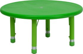 33'' Round Height Adjustable Green Plastic Activity Table [YU-YCX-007-2-ROUND-TBL-GREEN-GG]