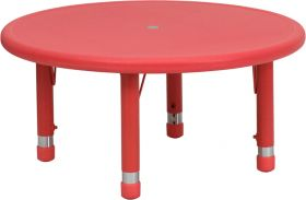 33'' Round Height Adjustable Red Plastic Activity Table [YU-YCX-007-2-ROUND-TBL-RED-GG]