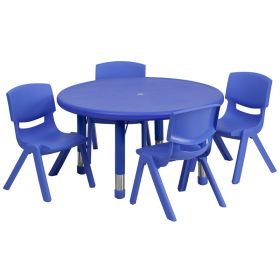 33'' Round Adjustable Blue Plastic Activity Table Set with 4 School Stack Chairs [YU-YCX-0073-2-ROUND-TBL-BLUE-E-GG]