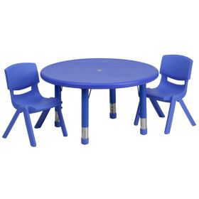 33'' Round Adjustable Blue Plastic Activity Table Set with 2 School Stack Chairs [YU-YCX-0073-2-ROUND-TBL-BLUE-R-GG]