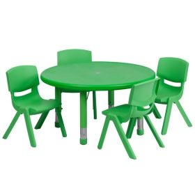 33'' Round Adjustable Green Plastic Activity Table Set with 4 School Stack Chairs [YU-YCX-0073-2-ROUND-TBL-GREEN-E-GG]