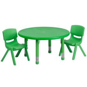 33'' Round Adjustable Green Plastic Activity Table Set with 2 School Stack Chairs [YU-YCX-0073-2-ROUND-TBL-GREEN-R-GG]