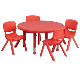 33'' Round Adjustable Red Plastic Activity Table Set with 4 School Stack Chairs [YU-YCX-0073-2-ROUND-TBL-RED-E-GG]