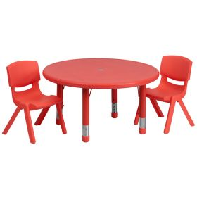 33'' Round Adjustable Red Plastic Activity Table Set with 2 School Stack Chairs [YU-YCX-0073-2-ROUND-TBL-RED-R-GG]