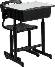 Adjustable Height Student Desk and Chair with Black Pedestal Frame [YU-YCX-046-09010-GG]