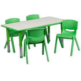 23.625''W x 47.25''L Adjustable Rectangular Green Plastic Activity Table Set with 4 School Stack Chairs [YU-YCY-060-0034-RECT-TBL-GREEN-GG]
