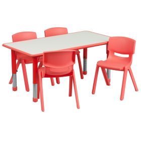 23.625''W x 47.25''L Adjustable Rectangular Red Plastic Activity Table Set with 4 School Stack Chairs [YU-YCY-060-0034-RECT-TBL-RED-GG]