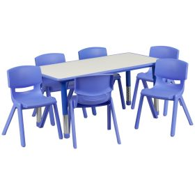 23.625''W x 47.25''L Adjustable Rectangular Blue Plastic Activity Table Set with 6 School Stack Chairs [YU-YCY-060-0036-RECT-TBL-BLUE-GG]