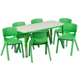 23.625''W x 47.25''L Adjustable Rectangular Green Plastic Activity Table Set with 6 School Stack Chairs [YU-YCY-060-0036-RECT-TBL-GREEN-GG]