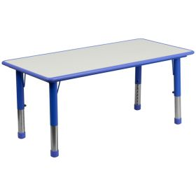 23.625''W x 47.25''L Height Adjustable Rectangular Blue Plastic Activity Table with Grey Top [YU-YCY-060-RECT-TBL-BLUE-GG]