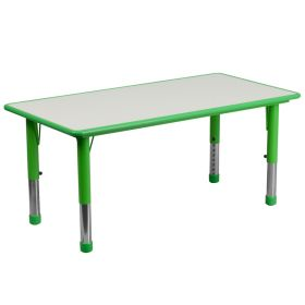 23.625''W x 47.25''L Height Adjustable Rectangular Green Plastic Activity Table with Grey Top [YU-YCY-060-RECT-TBL-GREEN-GG]