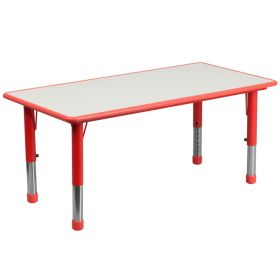 23.625''W x 47.25''L Height Adjustable Rectangular Red Plastic Activity Table with Grey Top [YU-YCY-060-RECT-TBL-RED-GG]