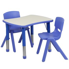 21.875''W x 26.625''L Adjustable Rectangular Blue Plastic Activity Table Set with 2 School Stack Chairs [YU-YCY-098-0032-RECT-TBL-BLUE-GG]