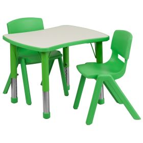 21.875''W x 26.625''L Adjustable Rectangular Green Plastic Activity Table Set with 2 School Stack Chairs [YU-YCY-098-0032-RECT-TBL-GREEN-GG]