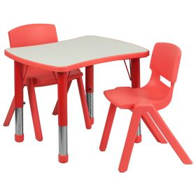 21.875''W x 26.625''L Adjustable Rectangular Red Plastic Activity Table Set with 2 School Stack Chairs [YU-YCY-098-0032-RECT-TBL-RED-GG]