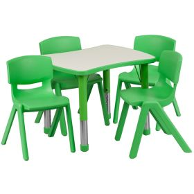 21.875''W x 26.625''L Adjustable Rectangular Green Plastic Activity Table Set with 4 School Stack Chairs [YU-YCY-098-0034-RECT-TBL-GREEN-GG]