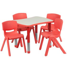 21.875''W x 26.625''L Adjustable Rectangular Red Plastic Activity Table Set with 4 School Stack Chairs [YU-YCY-098-0034-RECT-TBL-RED-GG]