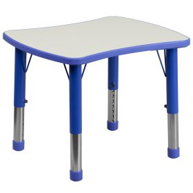 21.875''W x 26.625''L Height Adjustable Rectangular Blue Plastic Activity Table with Grey Top [YU-YCY-098-RECT-TBL-BLUE-GG]