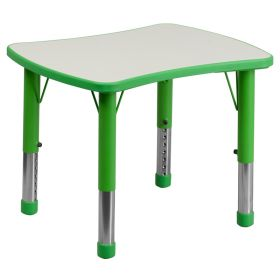 21.875''W x 26.625''L Height Adjustable Rectangular Green Plastic Activity Table with Grey Top [YU-YCY-098-RECT-TBL-GREEN-GG]
