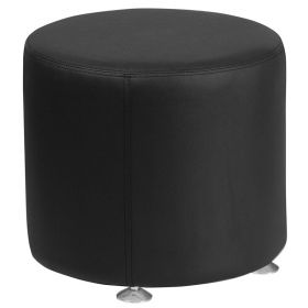 "Hercules Alon Series Black Leather 18"" Round Ottoman [ZB-803-RD-18-BK-GG]"