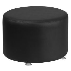 "Hercules Alon Series Black Leather 24"" Round Ottoman [ZB-803-RD-24-BK-GG]"