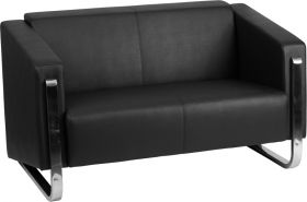 HERCULES Gallant Series Contemporary Black Leather Loveseat with Stainless Steel Frame [ZB-8803-2-LS-BK-GG]