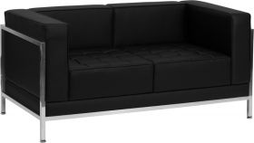 HERCULES Imagination Series Contemporary Black Leather Loveseat with Encasing Frame [ZB-IMAG-LS-GG]