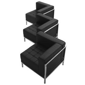 HERCULES Imagination Series Black Leather 3 Piece Corner Chair Set [ZB-IMAG-SET4-GG]