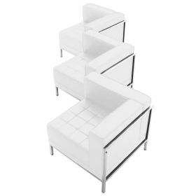 HERCULES Imagination Series White Leather 3 Piece Corner Chair Set [ZB-IMAG-SET4-WH-GG]