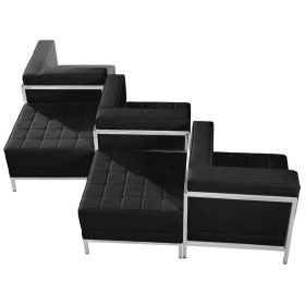HERCULES Imagination Series Black Leather 5 Piece Chair & Ottoman Set [ZB-IMAG-SET5-GG]