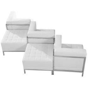 HERCULES Imagination Series White Leather 5 Piece Chair & Ottoman Set [ZB-IMAG-SET5-WH-GG]
