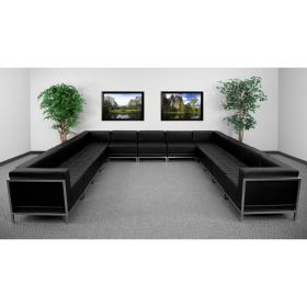 HERCULES Imagination Series Black Leather U-Shape Sectional Configuration, 13 Pieces [ZB-IMAG-U-SECT-SET2-GG]