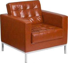 Hercules Lacey Series Contemporary Cognac Leather Chair with Stainless Steel Frame [ZB-LACEY-831-2-CHAIR-COG-GG]