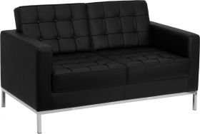 HERCULES Lacey Series Contemporary Black Leather Loveseat with Stainless Steel Frame [ZB-LACEY-831-2-LS-BK-GG]