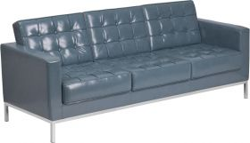 Hercules Lacey Series Contemporary Gray Leather Sofa with Stainless Steel Frame [ZB-LACEY-831-2-SOFA-GY-GG]