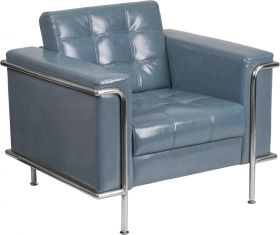 Hercules Lesley Series Contemporary Gray Leather Chair with Encasing Frame [ZB-LESLEY-8090-CHAIR-GY-GG]