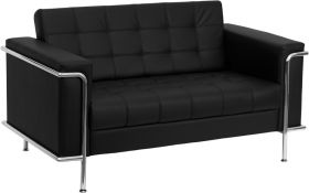 HERCULES Lesley Series Contemporary Black Leather Loveseat with Encasing Frame [ZB-LESLEY-8090-LS-BK-GG]