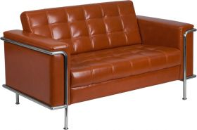 Hercules Lesley Series Contemporary Cognac Leather Loveseat with Encasing Frame [ZB-LESLEY-8090-LS-COG-GG]