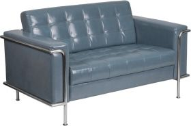 Hercules Lesley Series Contemporary Gray Leather Loveseat with Encasing Frame [ZB-LESLEY-8090-LS-GY-GG]