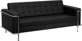 HERCULES Lesley Series Contemporary Black Leather Sofa with Encasing Frame [ZB-LESLEY-8090-SOFA-BK-GG]