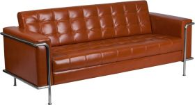 Hercules Lesley Series Contemporary Cognac Leather Sofa with Encasing Frame [ZB-LESLEY-8090-SOFA-COG-GG]
